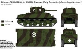 обзорное фото Airbrush CAMO-MASK for 1/35 M4 Sherman (Early Production) Camouflage Scheme 2 Маски